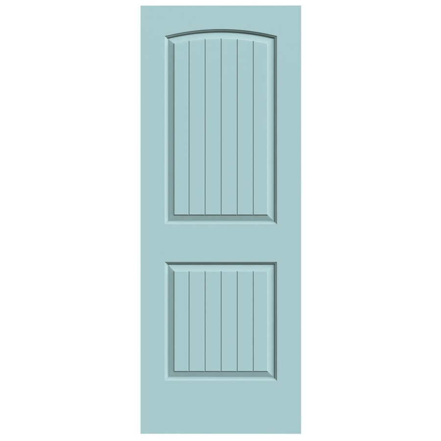 JELD-WEN Sea Mist Solid Core 2-Panel Round Top Plank Slab Interior Door (Common: 28-in x 80-in; Actual: 28-in x 80-in)