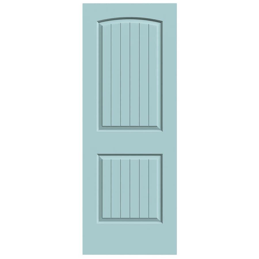 JELD-WEN Sea Mist Solid Core 2-Panel Round Top Plank Slab Interior Door (Common: 30-in x 80-in; Actual: 30-in x 80-in)