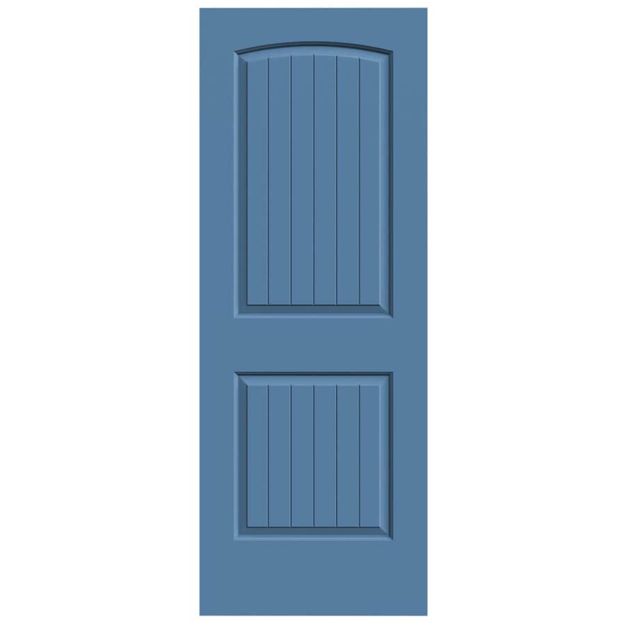 JELD-WEN Blue Heron Solid Core 2-Panel Round Top Plank Slab Interior Door (Common: 30-in x 80-in; Actual: 30-in x 80-in)