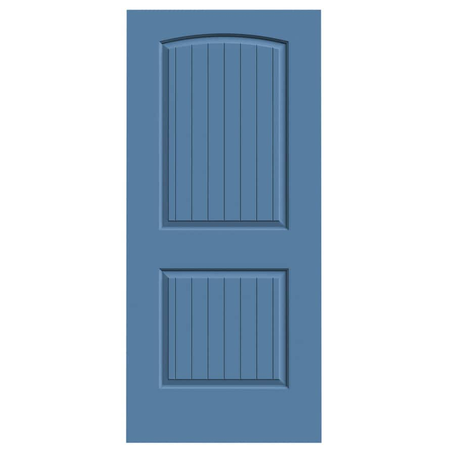 JELD-WEN Blue Heron Solid Core 2-Panel Round Top Plank Slab Interior Door (Common: 36-in x 80-in; Actual: 36-in x 80-in)