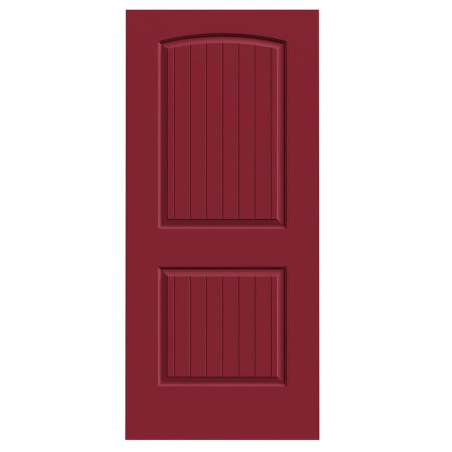 JELD-WEN Barn Red Solid Core 2-Panel Round Top Plank Slab Interior Door (Common: 36-in x 80-in; Actual: 36-in x 80-in)