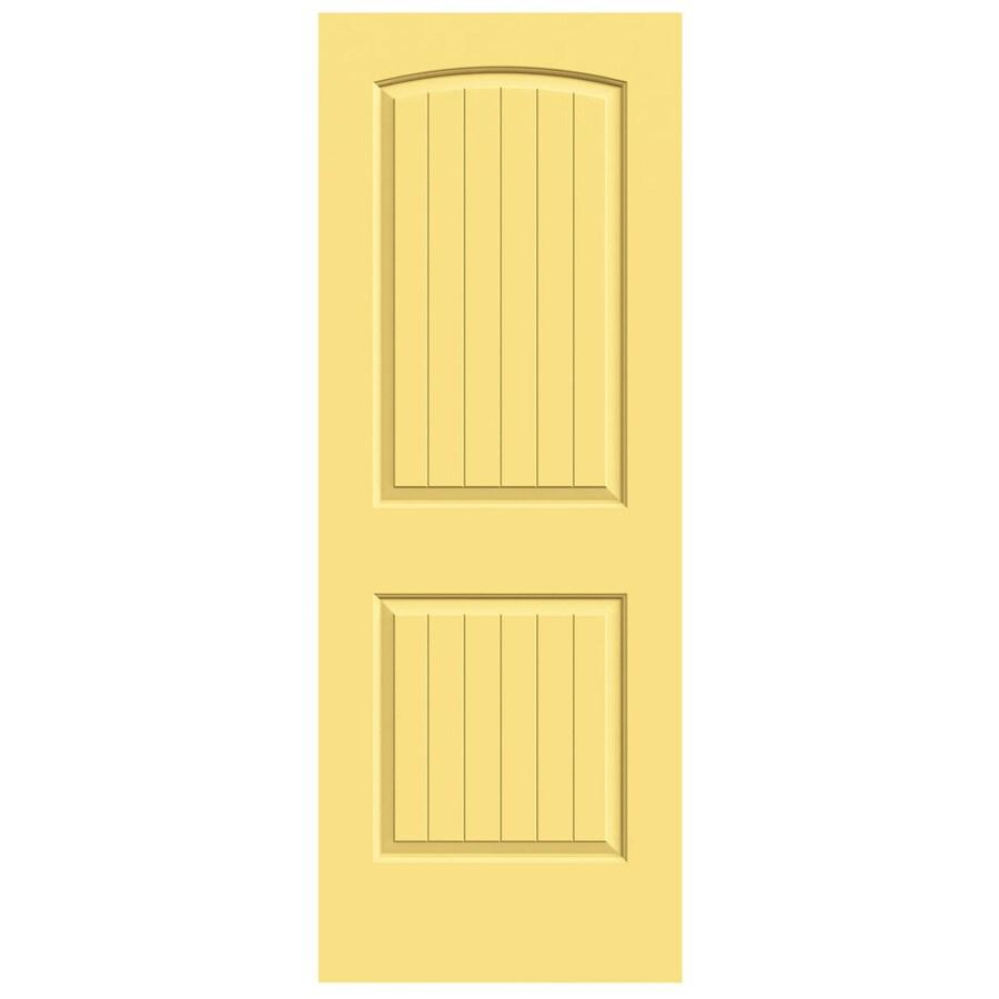 JELD-WEN Marigold Solid Core 2-Panel Round Top Plank Slab Interior Door (Common: 32-in x 80-in; Actual: 32-in x 80-in)