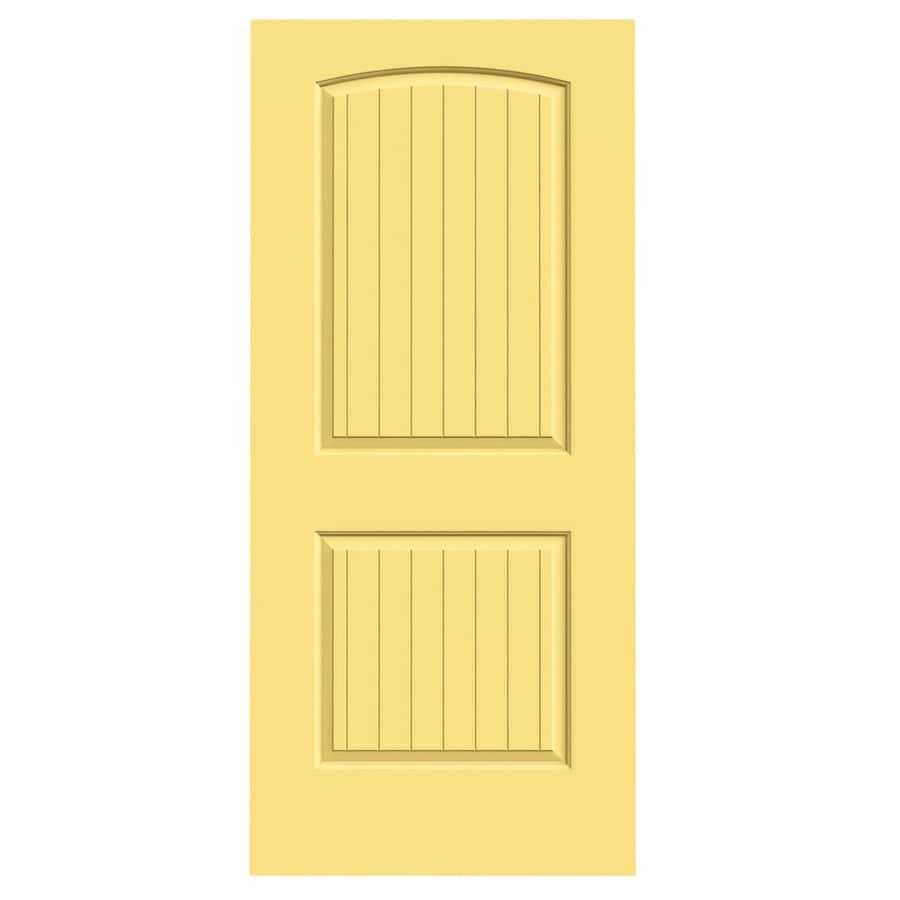 JELD-WEN Marigold Solid Core 2-Panel Round Top Plank Slab Interior Door (Common: 36-in x 80-in; Actual: 36-in x 80-in)