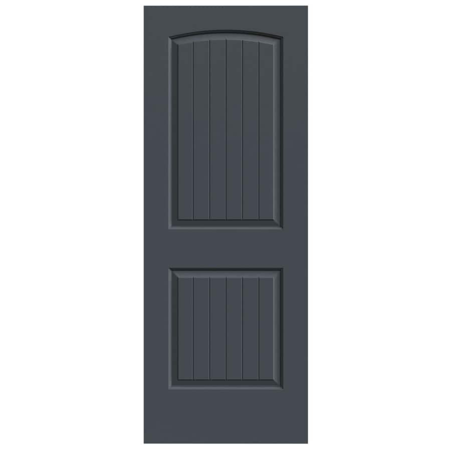 JELD-WEN Slate Solid Core 2-Panel Round Top Plank Slab Interior Door (Common: 30-in x 80-in; Actual: 30-in x 80-in)