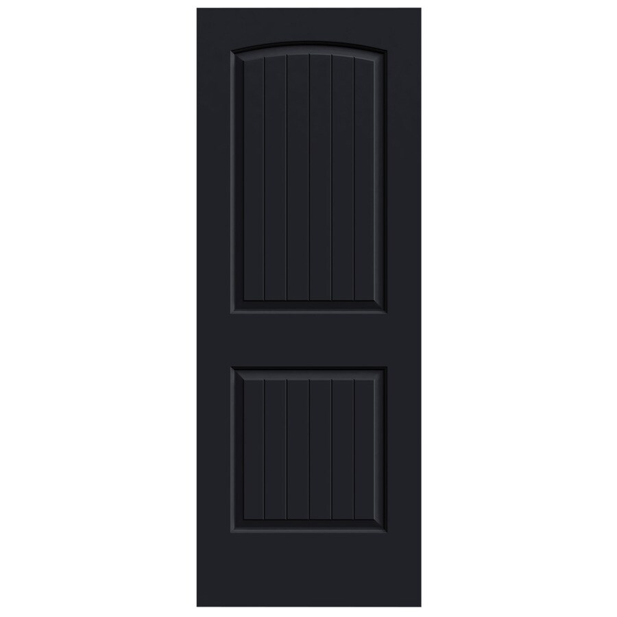JELD-WEN Midnight Solid Core 2-Panel Round Top Plank Slab Interior Door (Common: 30-in x 80-in; Actual: 30-in x 80-in)