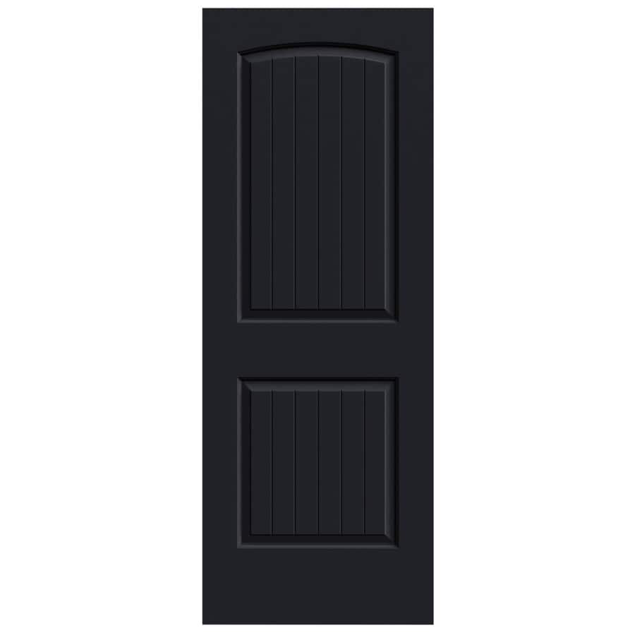 JELD-WEN Midnight Solid Core 2-Panel Round Top Plank Slab Interior Door (Common: 32-in x 80-in; Actual: 32-in x 80-in)