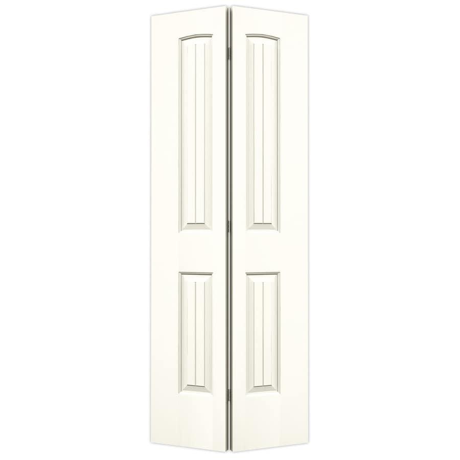 JELD-WEN White Hollow Core 2-Panel Round Top Plank Bi-Fold Closet Interior Door (Common: 28-in x 80-in; Actual: 27.5-in x 79-in)