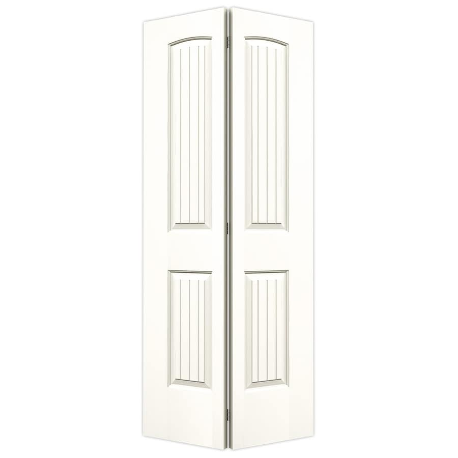 JELD-WEN White Hollow Core 2-Panel Round Top Plank Bi-Fold Closet Interior Door (Common: 36-in x 80-in; Actual: 35.5-in x 79-in)