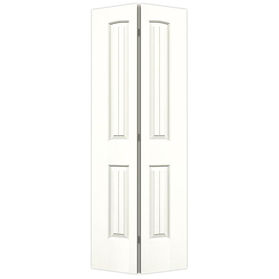 JELD-WEN Snow Storm Hollow Core 2-Panel Round Top Plank Bi-Fold Closet Interior Door (Common: 32-in x 80-in; Actual: 31.5-in x 79-in)