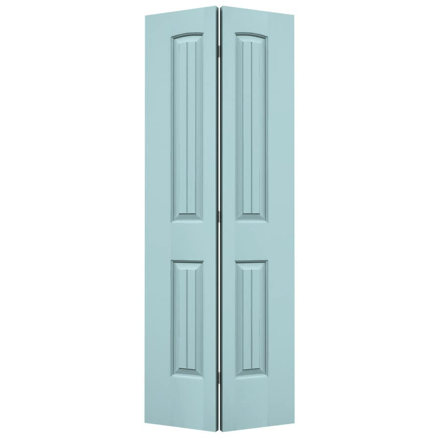 JELD-WEN Sea Mist 2-panel Round Top Plank Bi-fold Closet Interior Door (Common: 30-in x 80-in; Actual: 29.5-in x 79-in)