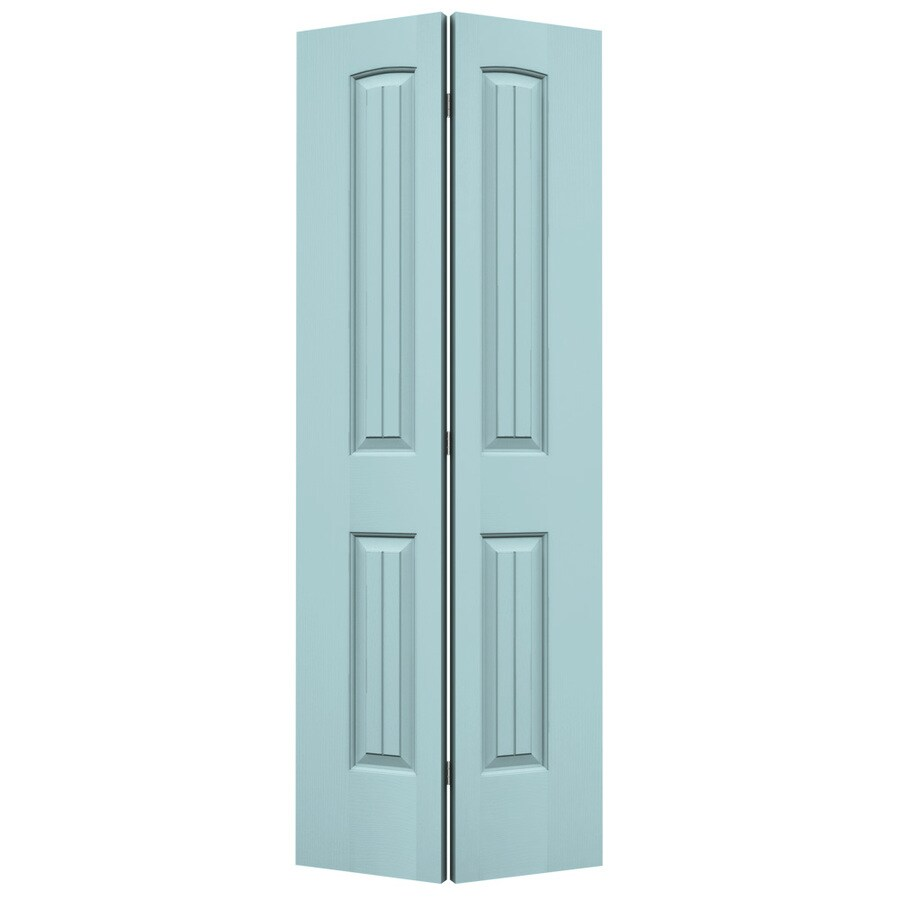 JELD-WEN Sea Mist 2-panel Round Top Plank Bi-fold Closet Interior Door (Common: 32-in x 80-in; Actual: 31.5000-in x 79-in)