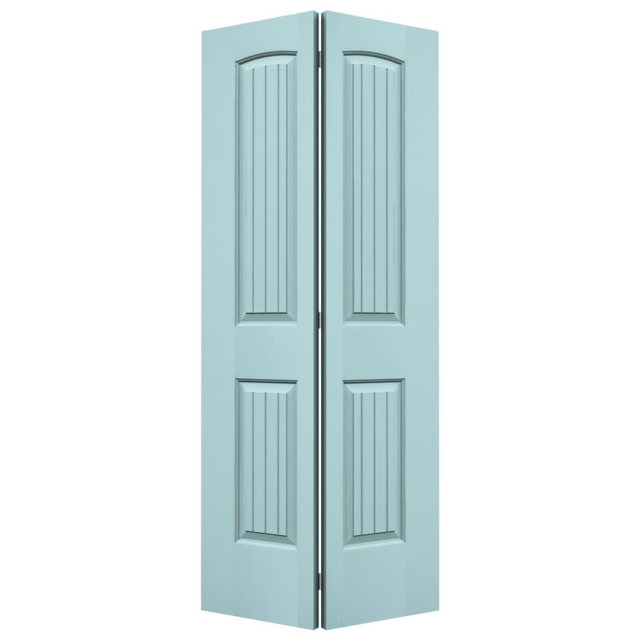 JELD-WEN Sea Mist Hollow Core 2-Panel Round Top Plank Bi-Fold Closet Interior Door (Common: 36-in x 80-in; Actual: 35.5-in x 79-in)