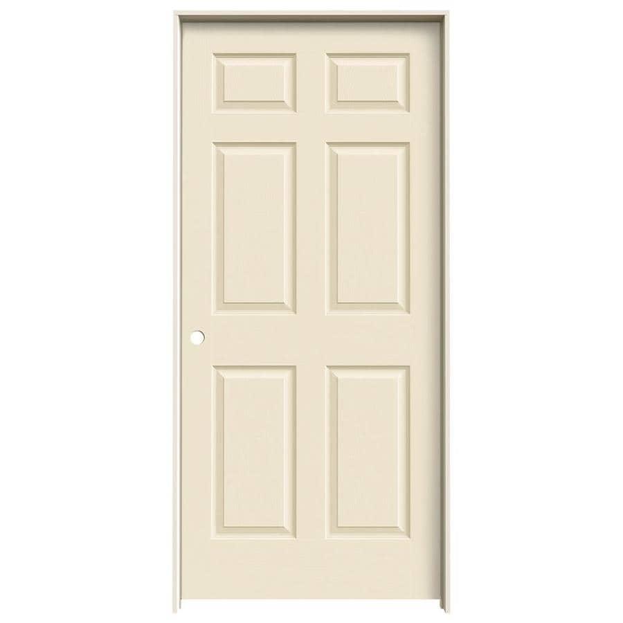 JELD-WEN Cream-N-Sugar Prehung Hollow Core 1-Panel Square Interior Door (Actual: 81.688-in x 37.562-in)