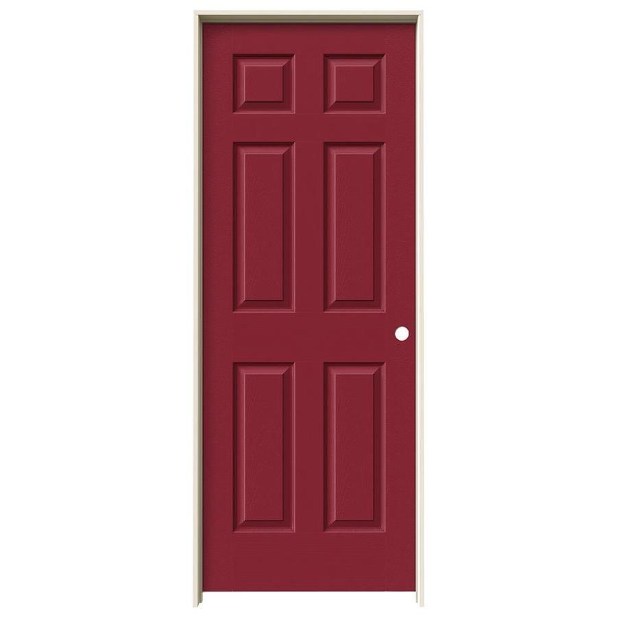 JELD-WEN Barn Red Prehung Hollow Core 1-Panel Square Interior Door (Actual: 81.688-in x 29.562-in)