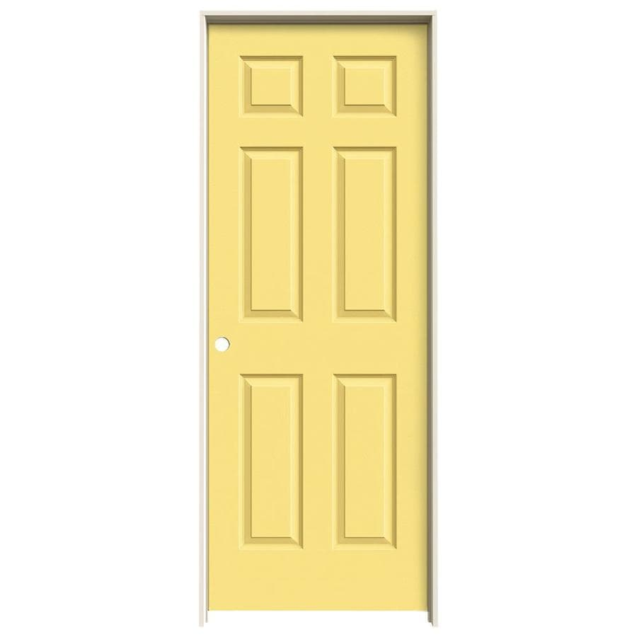 JELD-WEN Marigold Prehung Hollow Core 1-Panel Square Interior Door (Actual: 81.688-in x 31.562-in)