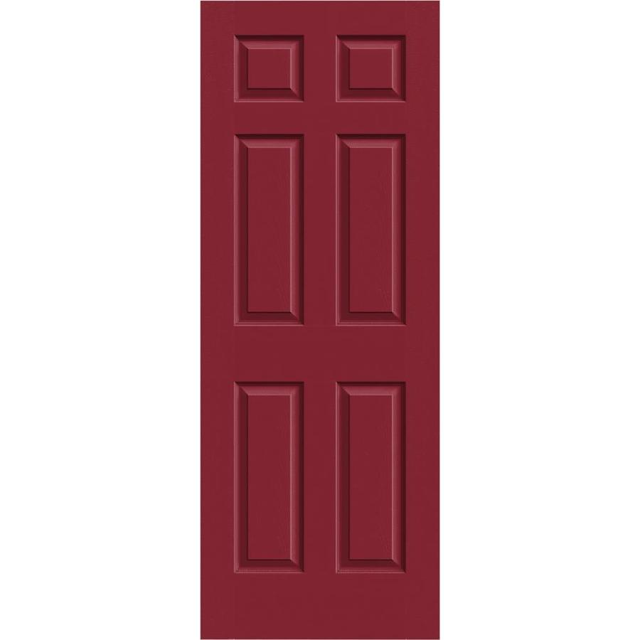 JELD-WEN Colonist Barn Red Hollow Core 1-Panel Square Mirror Slab Interior Door (Common: 24-in x 80-in; Actual: 24-in x 80-in)