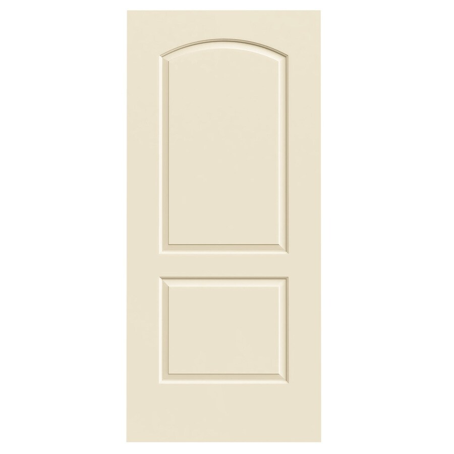 JELD-WEN Cream-N-Sugar Solid Core 2-Panel Round Top Slab Interior Door (Common: 36-in x 80-in; Actual: 36-in x 80-in)