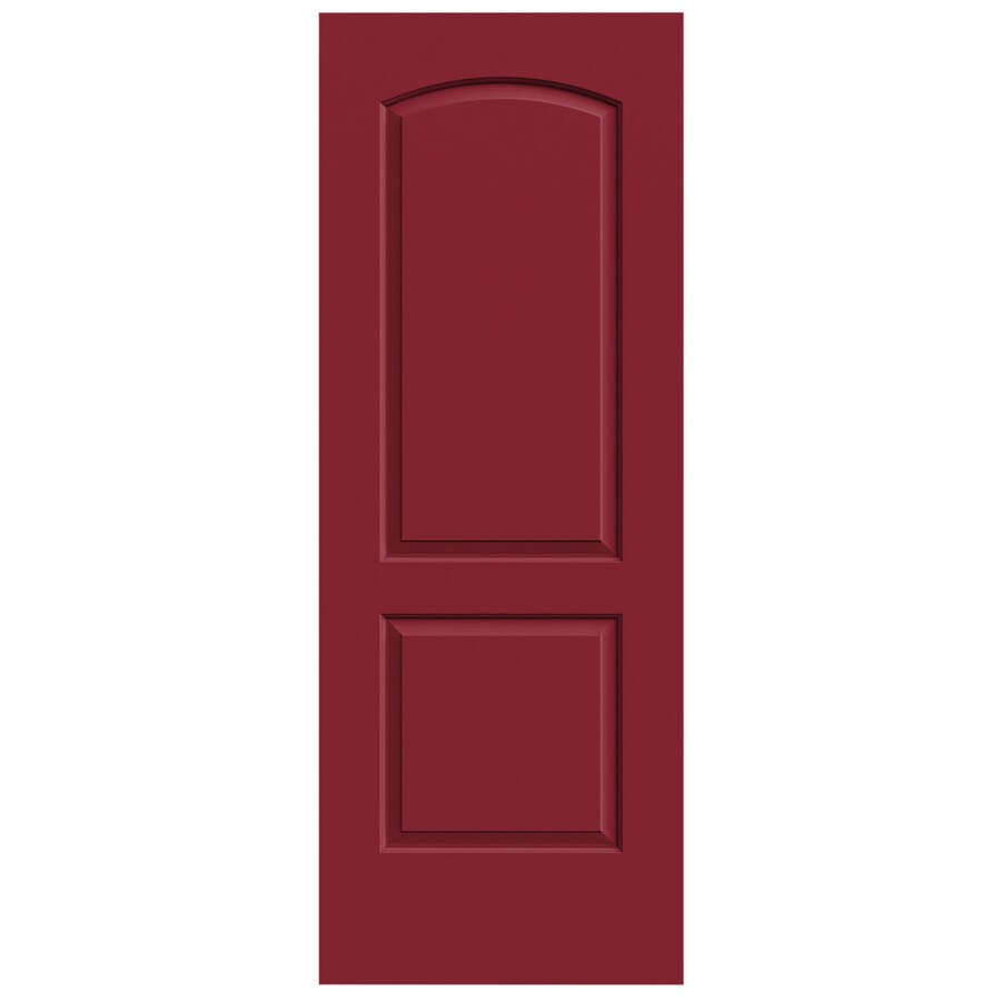 JELD-WEN Barn Red Solid Core 2-Panel Round Top Slab Interior Door (Common: 28-in x 80-in; Actual: 28-in x 80-in)