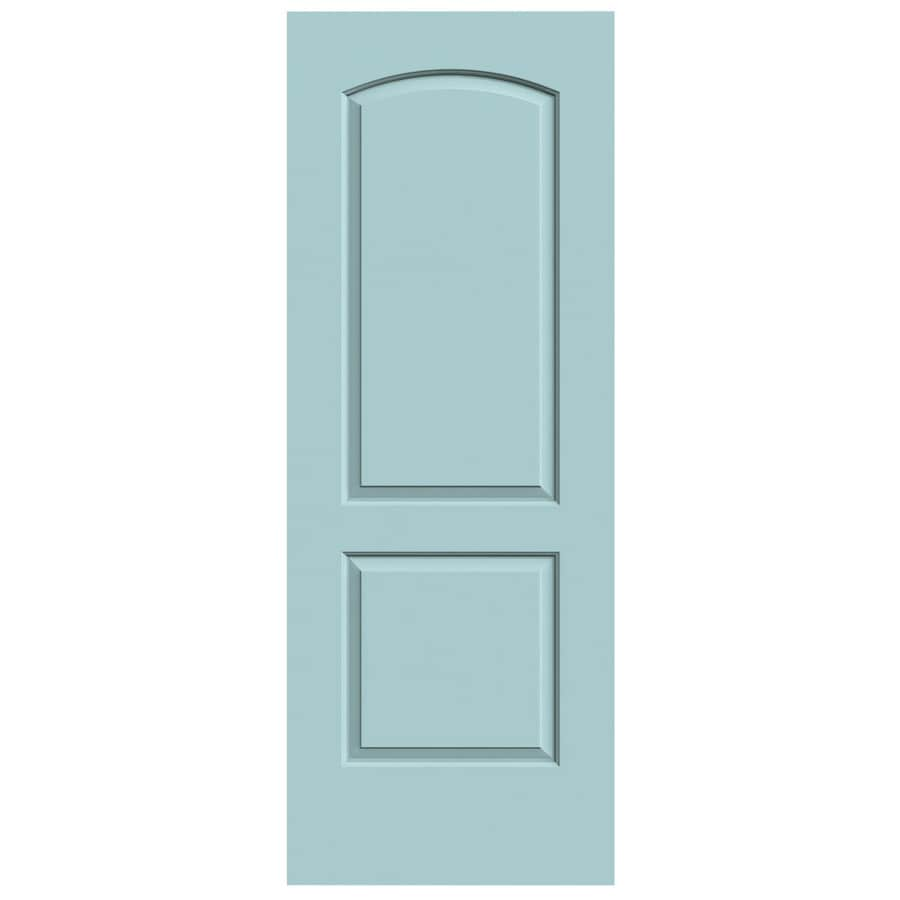 JELD-WEN Sea Mist Solid Core 2-Panel Round Top Slab Interior Door (Common: 24-in x 80-in; Actual: 24-in x 80-in)