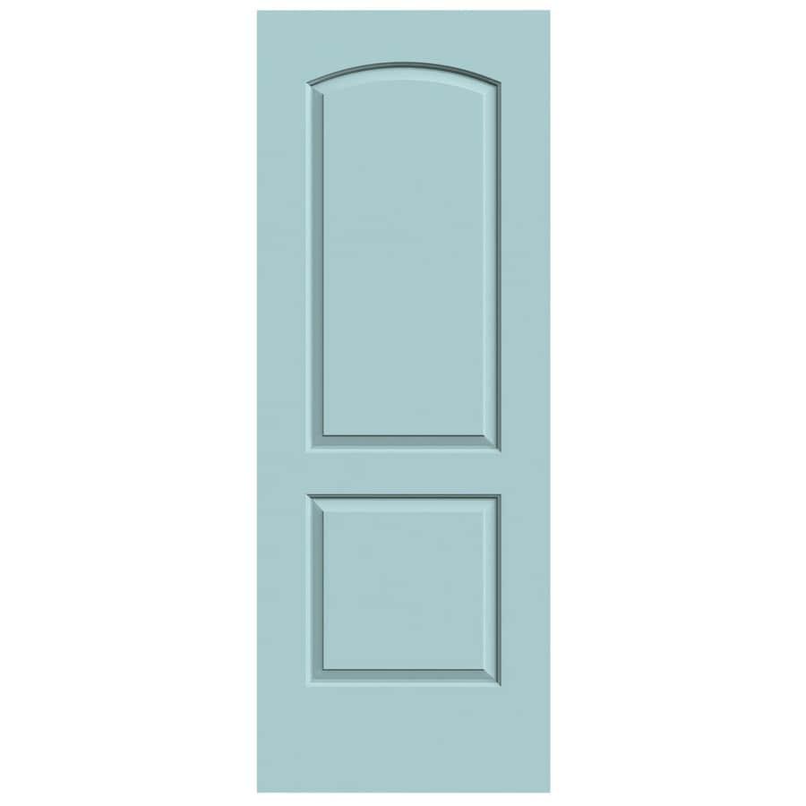 JELD-WEN Sea Mist Solid Core 2-Panel Round Top Slab Interior Door (Common: 28-in x 80-in; Actual: 28-in x 80-in)
