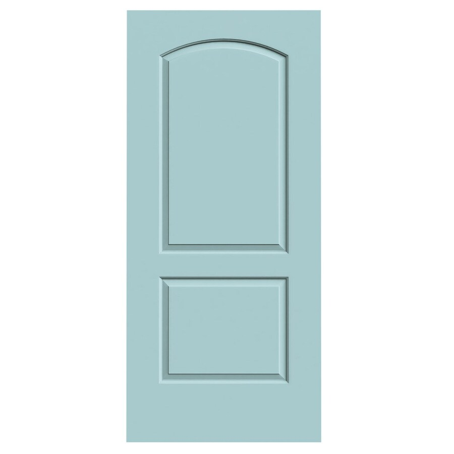JELD-WEN Sea Mist Solid Core 2-Panel Round Top Slab Interior Door (Common: 36-in x 80-in; Actual: 36-in x 80-in)