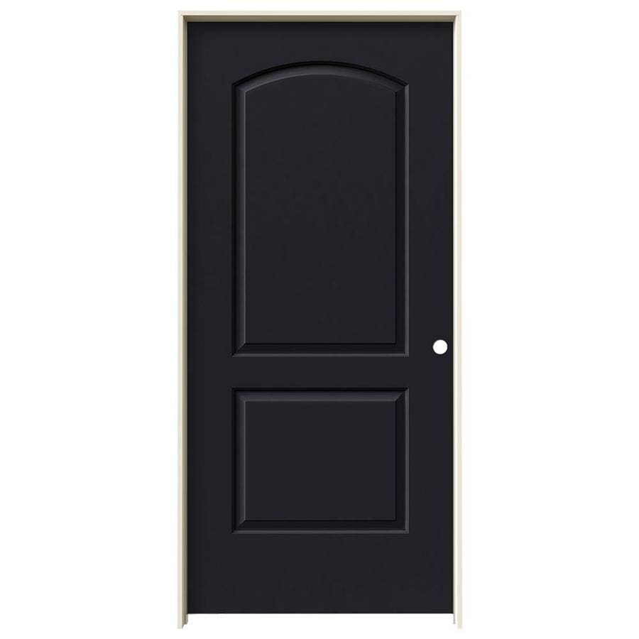 JELD-WEN Midnight 2-panel Round Top Single Prehung Interior Door (Common: 36-in x 80-in; Actual: 37.562-in x 81.688-in)