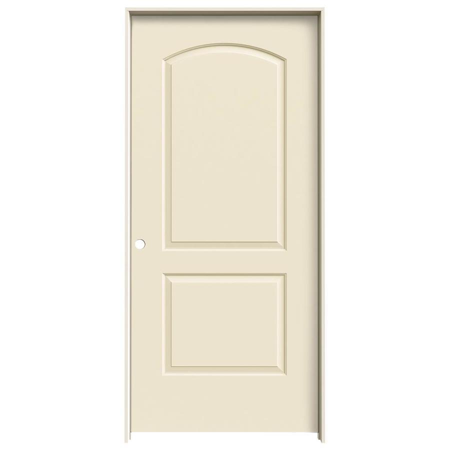 JELD-WEN Cream-N-Sugar Prehung Hollow Core 2-Panel Round Top Interior Door (Common: 36-in x 80-in; Actual: 37.562-in x 81.688-in)