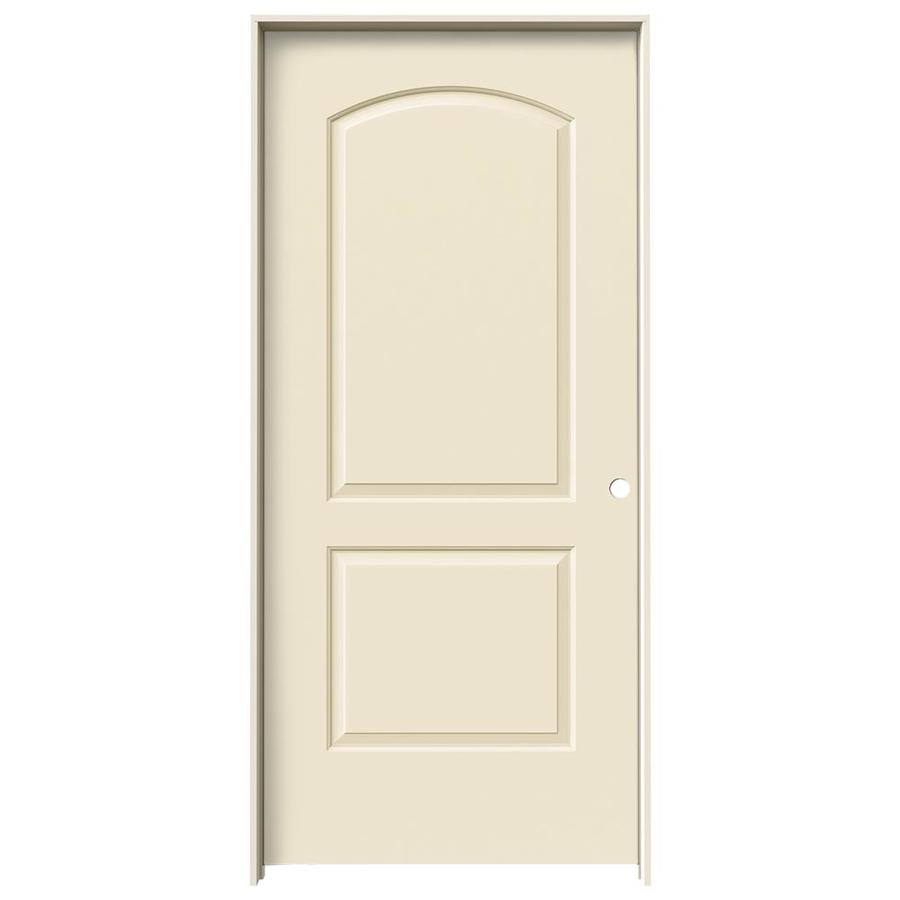 JELD-WEN Cream-N-Sugar Prehung Hollow Core 2-Panel Round Top Interior Door (Common: 36-in x 80-in; Actual: 37.562-in x 81.688-in)