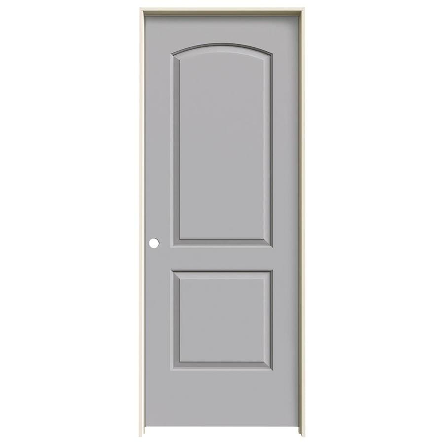 JELD-WEN Driftwood 2-panel Round Top Single Prehung Interior Door (Common: 24-in x 80-in; Actual: 25.562-in x 81.688-in)