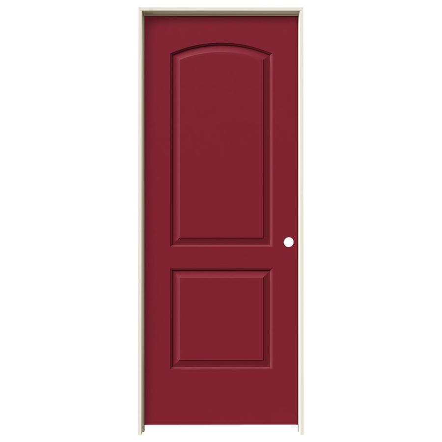 JELD-WEN Barn Red 2-panel Round Top Single Prehung Interior Door (Common: 24-in x 80-in; Actual: 25.562-in x 81.688-in)