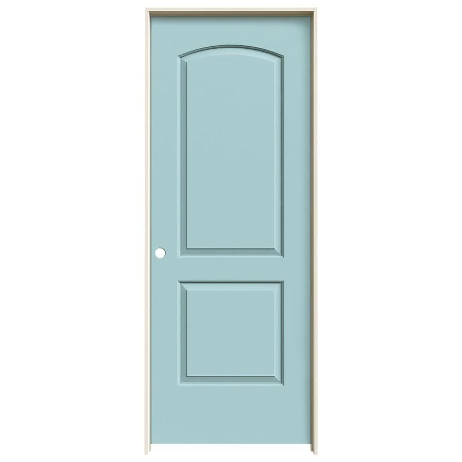 JELD-WEN Sea Mist 2-panel Round Top Single Prehung Interior Door (Common: 30-in x 80-in; Actual: 31.562-in x 81.688-in)