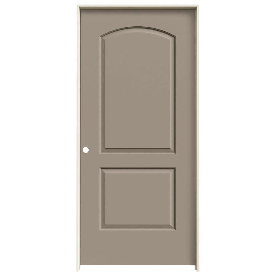 JELD-WEN Sand Piper Prehung Hollow Core 2-Panel Round Top Interior Door (Common: 36-in x 80-in; Actual: 37.562-in x 81.688-in)