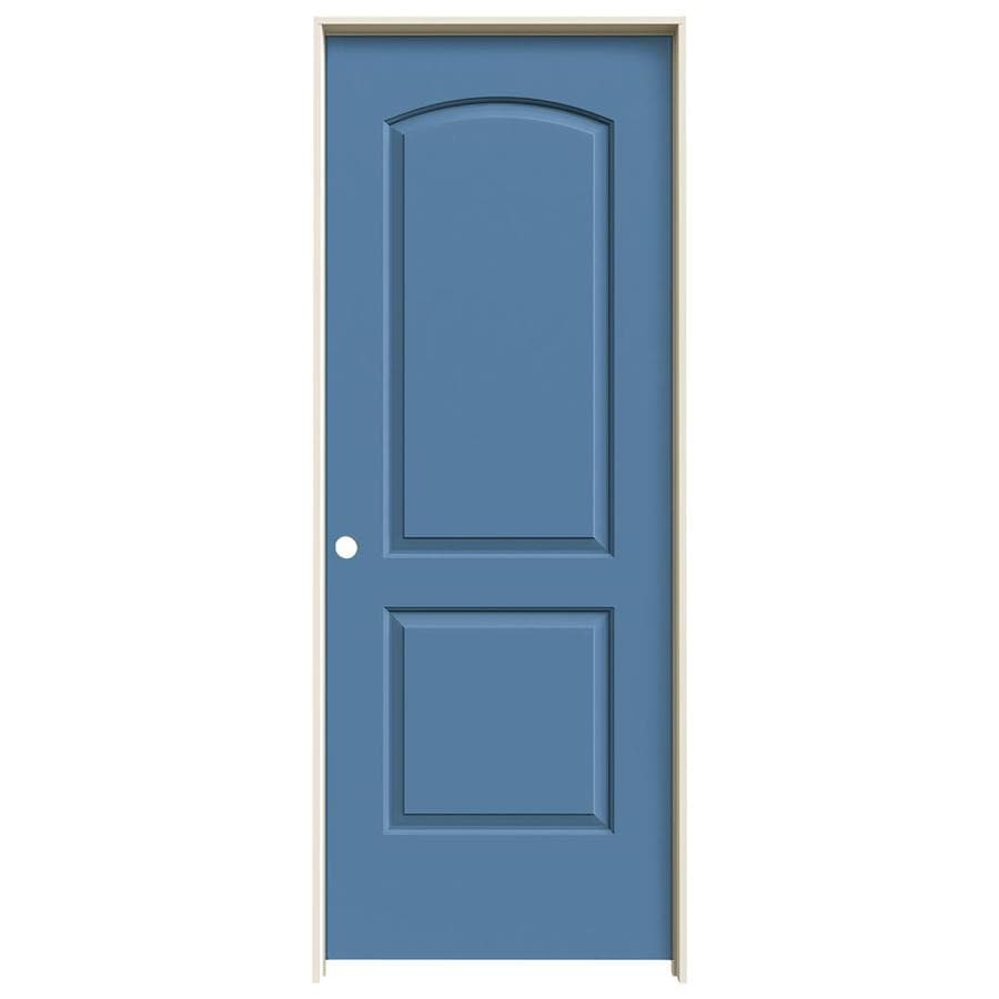 JELD-WEN Continental Blue Heron Solid Core Molded Composite Single Prehung Interior Door (Common: 24-in x 80-in; Actual: 25.562-in x 81.688-in)
