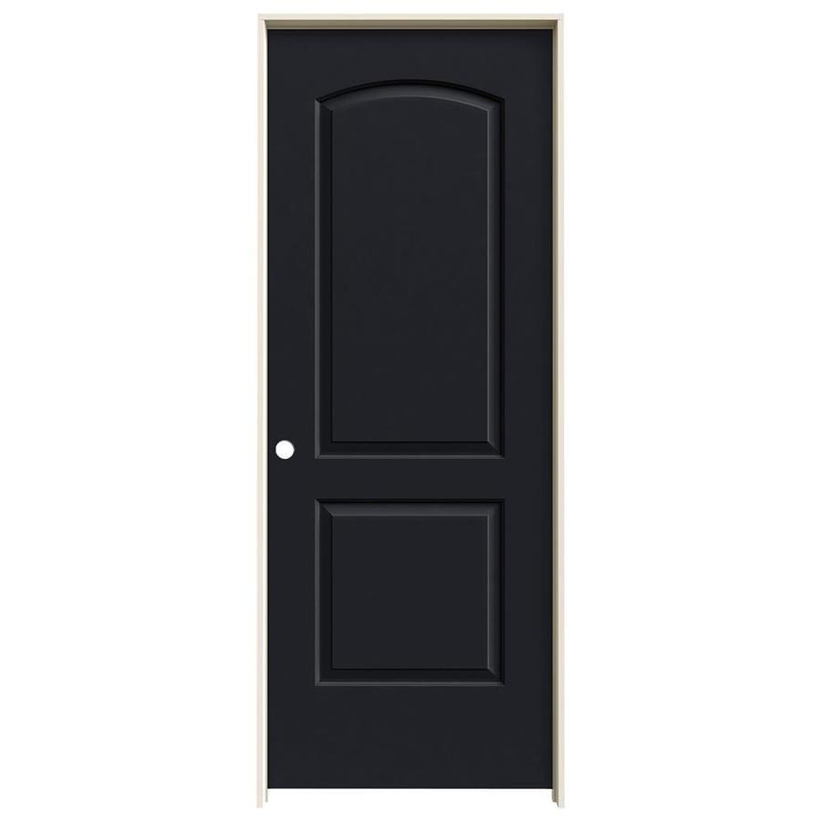 JELD-WEN Midnight Prehung Solid Core 2-Panel Round Top Interior Door (Common: 28-in x 80-in; Actual: 29.562-in x 81.688-in)