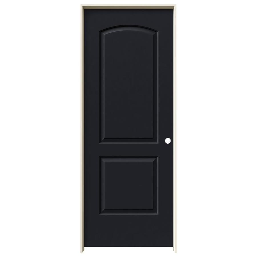JELD-WEN Midnight Prehung Solid Core 2-Panel Round Top Interior Door (Common: 32-in x 80-in; Actual: 33.562-in x 81.688-in)