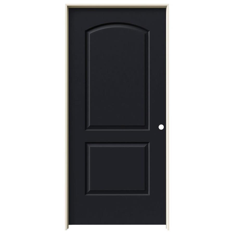 JELD-WEN Midnight Prehung Solid Core 2-Panel Round Top Interior Door (Common: 36-in x 80-in; Actual: 37.562-in x 81.688-in)