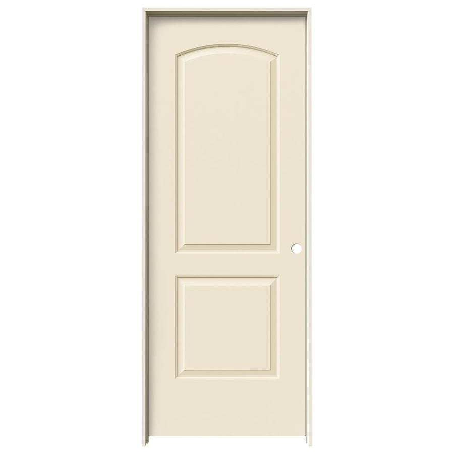JELD-WEN Cream-N-Sugar Prehung Solid Core 2-Panel Round Top Interior Door (Common: 30-in x 80-in; Actual: 31.562-in x 81.688-in)