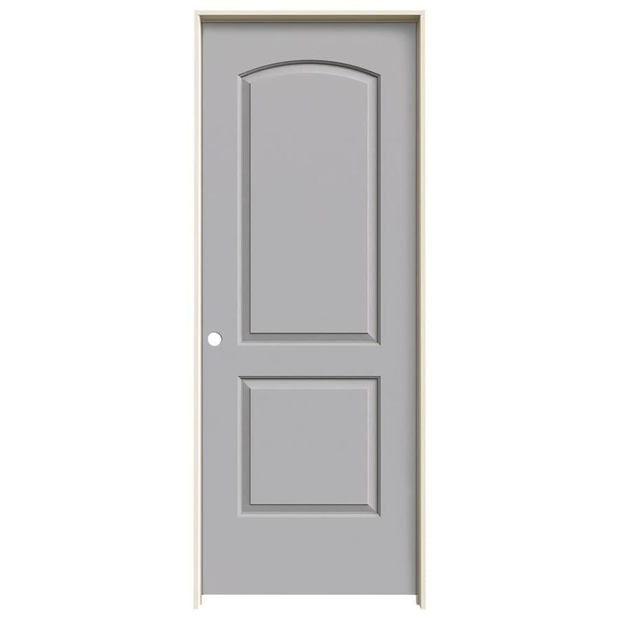 JELD-WEN Driftwood Prehung Solid Core 2-Panel Round Top Interior Door (Common: 24-in x 80-in; Actual: 25.562-in x 81.688-in)