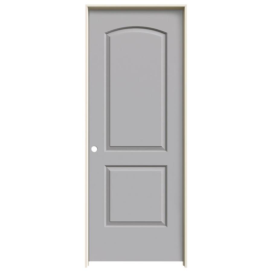JELD-WEN Driftwood Prehung Solid Core 2-Panel Round Top Interior Door (Common: 28-in x 80-in; Actual: 29.562-in x 81.688-in)