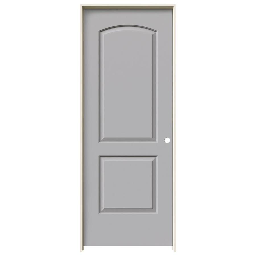 JELD-WEN Driftwood Prehung Solid Core 2-Panel Round Top Interior Door (Common: 28-in x 80-in; Actual: 29.562-in x 81.688-in)