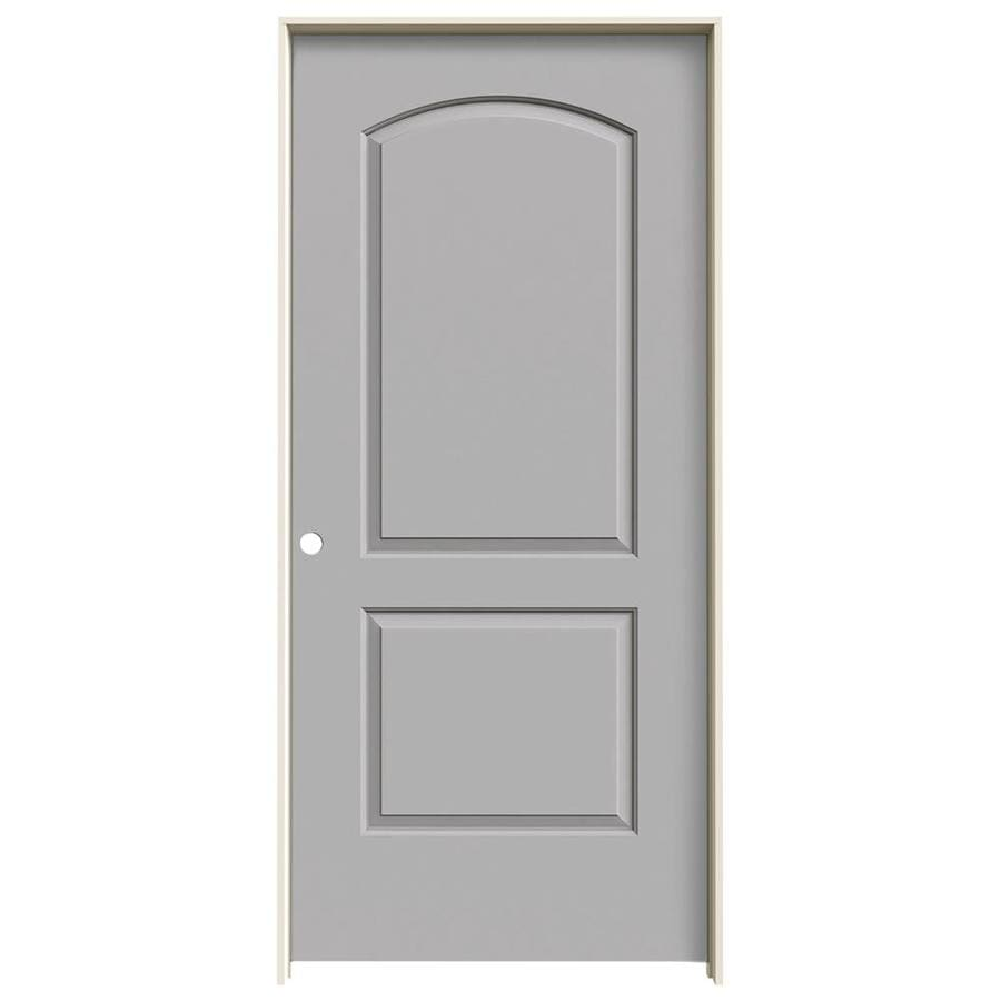 Shop jeld wen continental driftwood 2 panel round top solid core molded composite single prehung for Lowes interior doors prehung