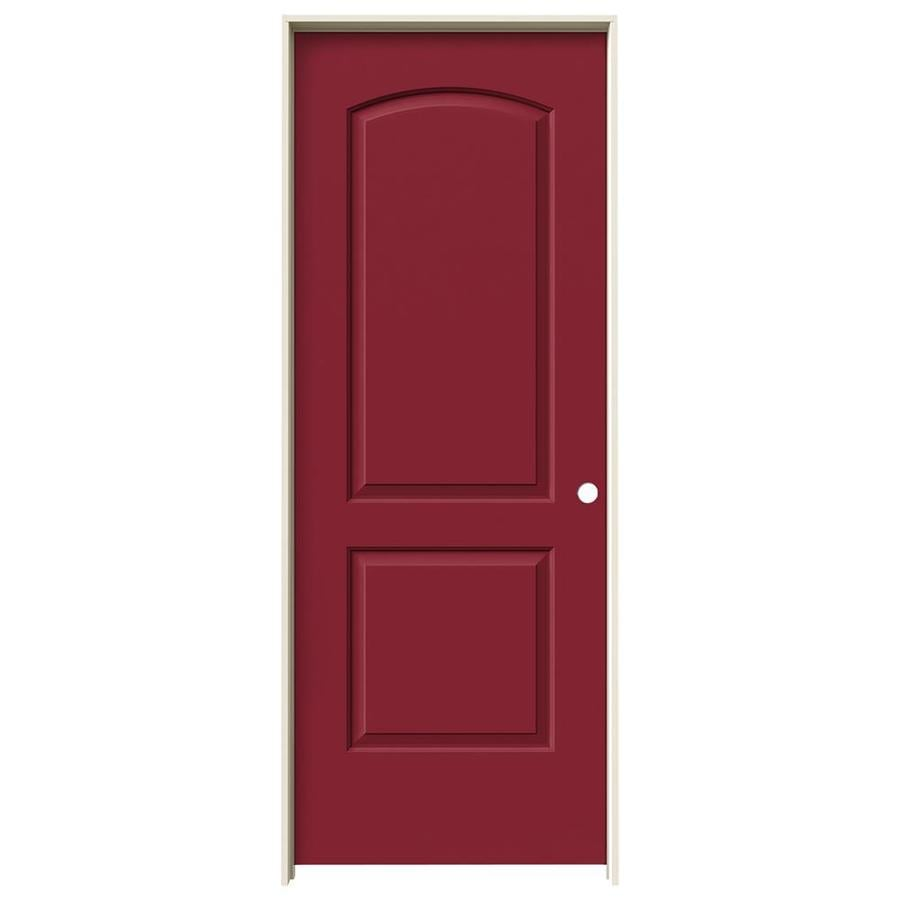 JELD-WEN Barn Red Prehung Solid Core 2-Panel Round Top Interior Door (Common: 28-in x 80-in; Actual: 29.562-in x 81.688-in)