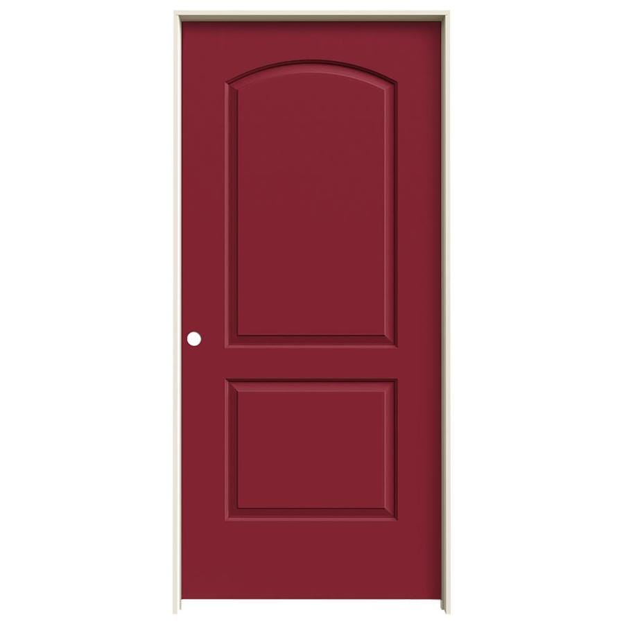 JELD-WEN Barn Red 2-panel Round Top Single Prehung Interior Door (Common: 36-in X 80-in; Actual: 37.5620-in x 81.6880-in)