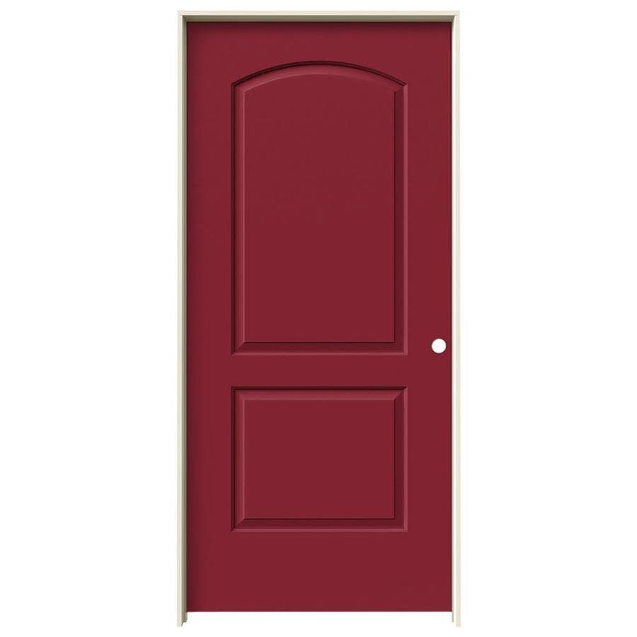 JELD-WEN Barn Red Prehung Solid Core 2-Panel Round Top Interior Door (Common: 36-in x 80-in; Actual: 37.562-in x 81.688-in)