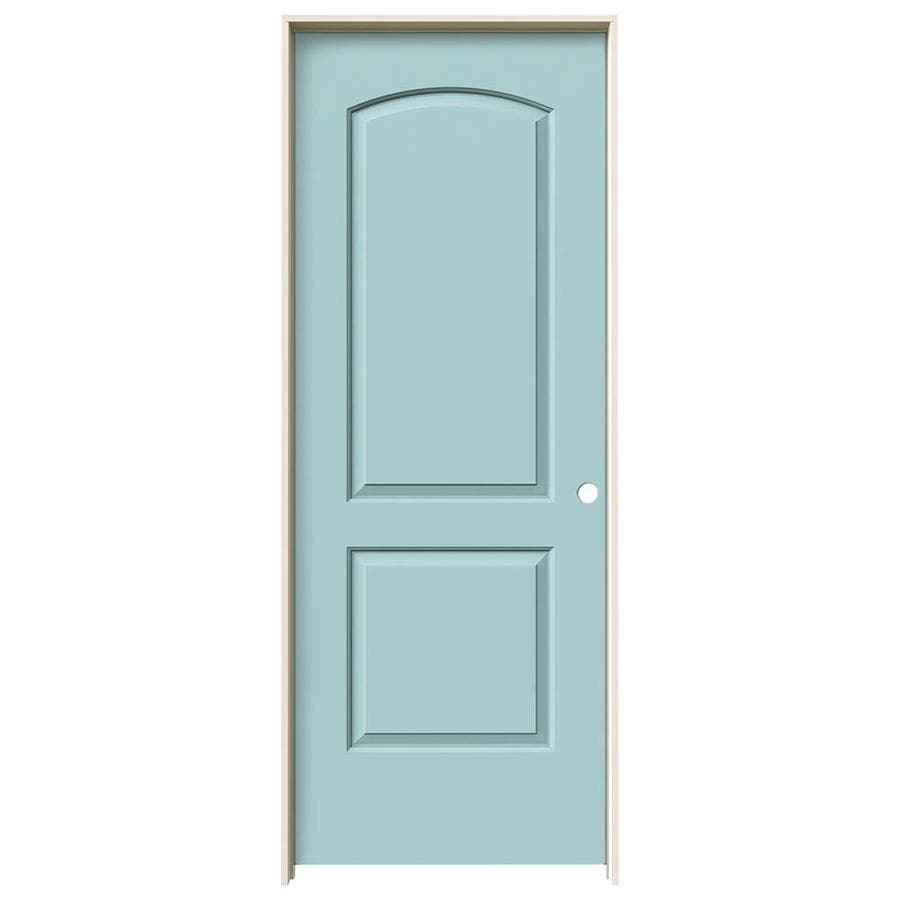 JELD-WEN Sea Mist Prehung Solid Core 2-Panel Round Top Interior Door (Common: 24-in x 80-in; Actual: 25.562-in x 81.688-in)