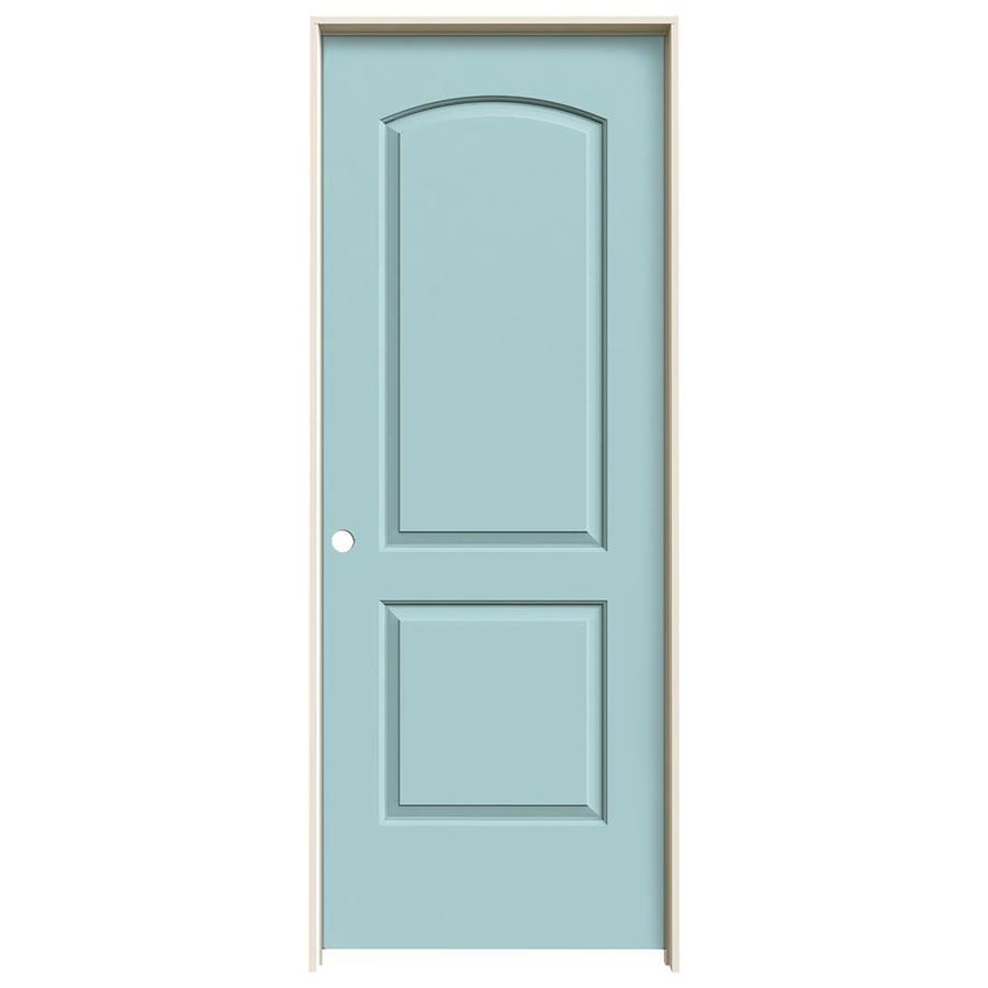 JELD-WEN Sea Mist 2-panel Round Top Single Prehung Interior Door (Common: 28-in x 80-in; Actual: 29.562-in x 81.688-in)