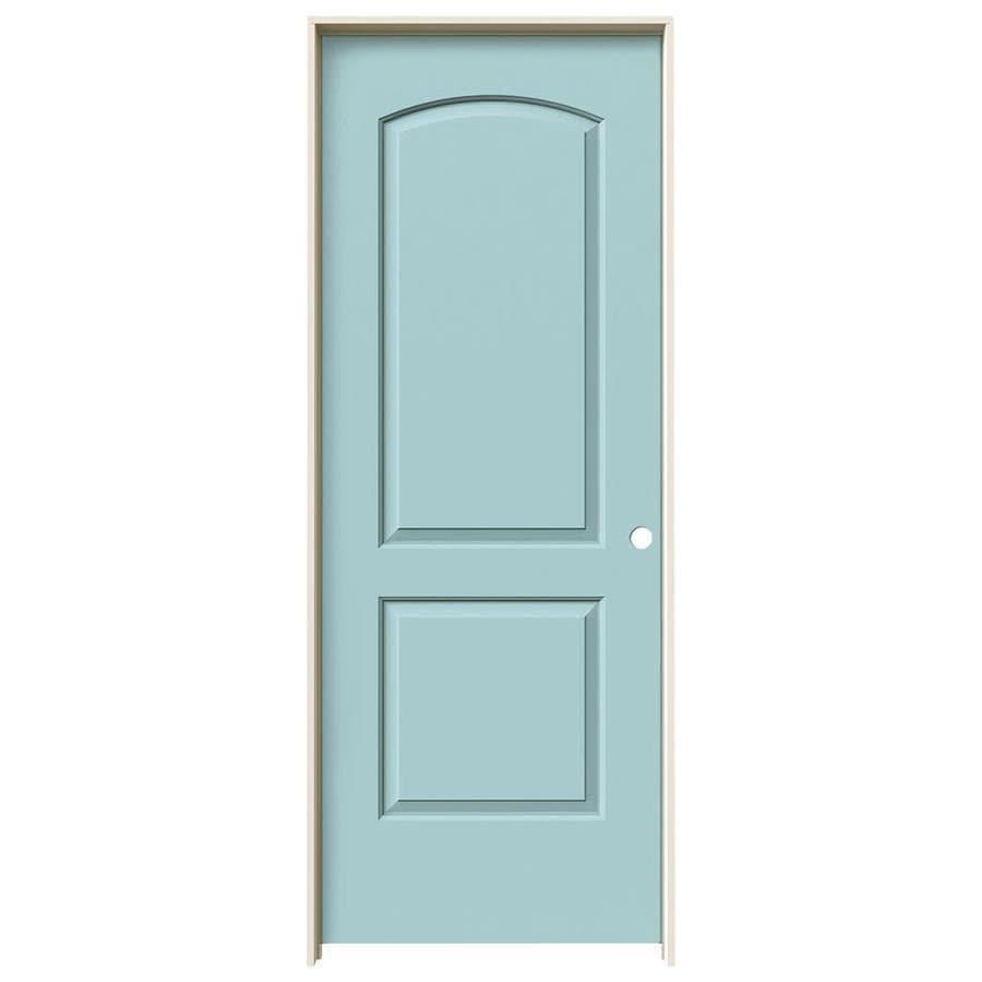 JELD-WEN Sea Mist 2-panel Round Top Single Prehung Interior Door (Common: 32-in X 80-in; Actual: 33.5620-in x 81.6880-in)