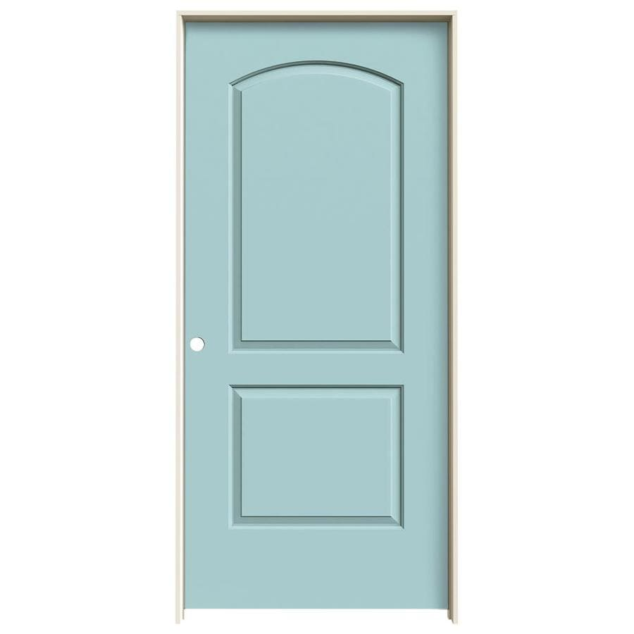 JELD-WEN Sea Mist Prehung Solid Core 2-Panel Round Top Interior Door (Common: 36-in x 80-in; Actual: 37.562-in x 81.688-in)