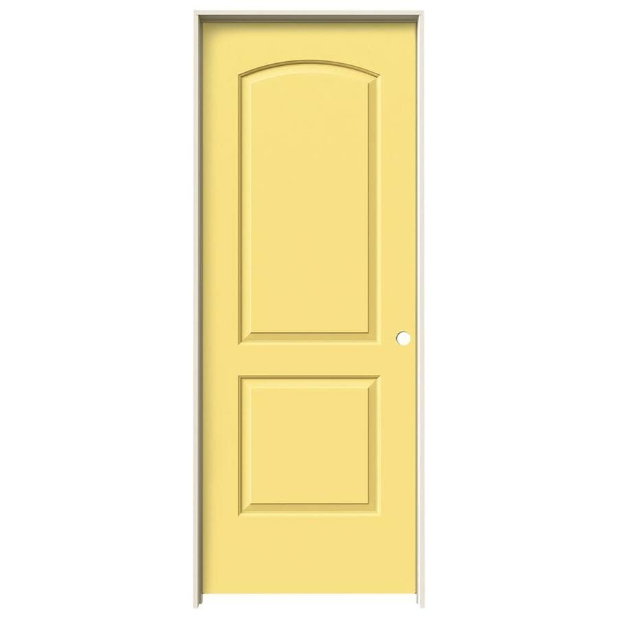JELD-WEN Santa Fe Moonglow Prehung Hollow Core 2-Panel Round Top Plank Interior Door (Common: 36-in x 80-in; Actual: 37.562-in x 81.688-in)