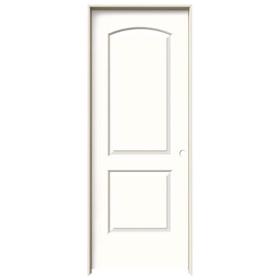 JELD-WEN Snow Storm 2-panel Round Top Single Prehung Interior Door (Common: 28-in x 80-in; Actual: 29.562-in x 81.688-in)